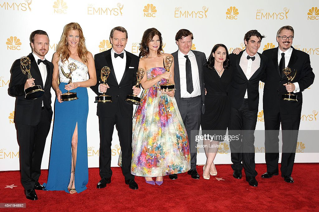 Actors Aaron Paul, Anna Gunn, <a gi-track='captionPersonalityLinkClicked' href=/galleries/search?phrase=Bryan+Cranston&family=editorial&specificpeople=217768 ng-click='$event.stopPropagation()'>Bryan Cranston</a>, <a gi-track='captionPersonalityLinkClicked' href=/galleries/search?phrase=Betsy+Brandt&family=editorial&specificpeople=4819893 ng-click='$event.stopPropagation()'>Betsy Brandt</a>, <a gi-track='captionPersonalityLinkClicked' href=/galleries/search?phrase=Jesse+Plemons&family=editorial&specificpeople=745007 ng-click='$event.stopPropagation()'>Jesse Plemons</a>, <a gi-track='captionPersonalityLinkClicked' href=/galleries/search?phrase=Laura+Fraser+-+Actress&family=editorial&specificpeople=13518017 ng-click='$event.stopPropagation()'>Laura Fraser</a> <a gi-track='captionPersonalityLinkClicked' href=/galleries/search?phrase=RJ+Mitte&family=editorial&specificpeople=4542119 ng-click='$event.stopPropagation()'>RJ Mitte</a> and <a gi-track='captionPersonalityLinkClicked' href=/galleries/search?phrase=Vince+Gilligan&family=editorial&specificpeople=4360133 ng-click='$event.stopPropagation()'>Vince Gilligan</a>, winners of Outstanding Drama Series Award, Outstanding Lead Actor in a Drama Series Award, Outstanding Supporting Actor in a Drama Series Award, Outstanding Supporting Actress in a Drama Series and Outstanding Writing for a Drama Series for 'Breaking Bad', pose in the press room at the 66th annual Primetime Emmy Awards at Nokia Theatre L.A. Live on August 25, 2014 in Los Angeles, California.