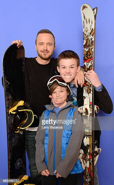 Actors Aaron Paul Deke Garner and Josh Wiggins pose for a portrait during the 2014 Sundance Film Festival at the Getty Images Portrait Studio at the...