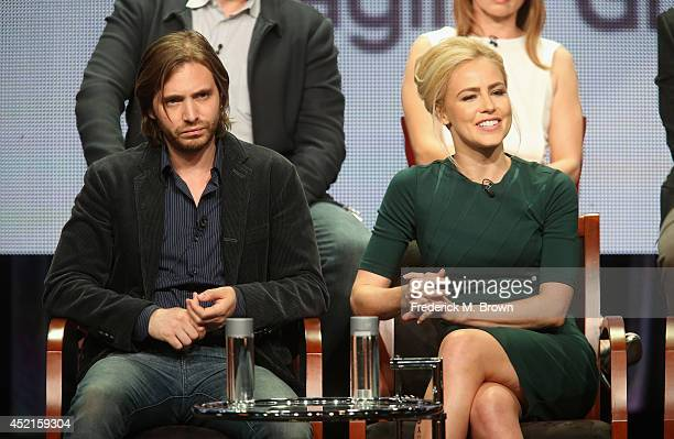Actors Aaron Stanford and Amanda Schull speak onstage at the '12 Monkeys'' panel during the NBCUniversal Syfy portion of the 2014 Summer Television...