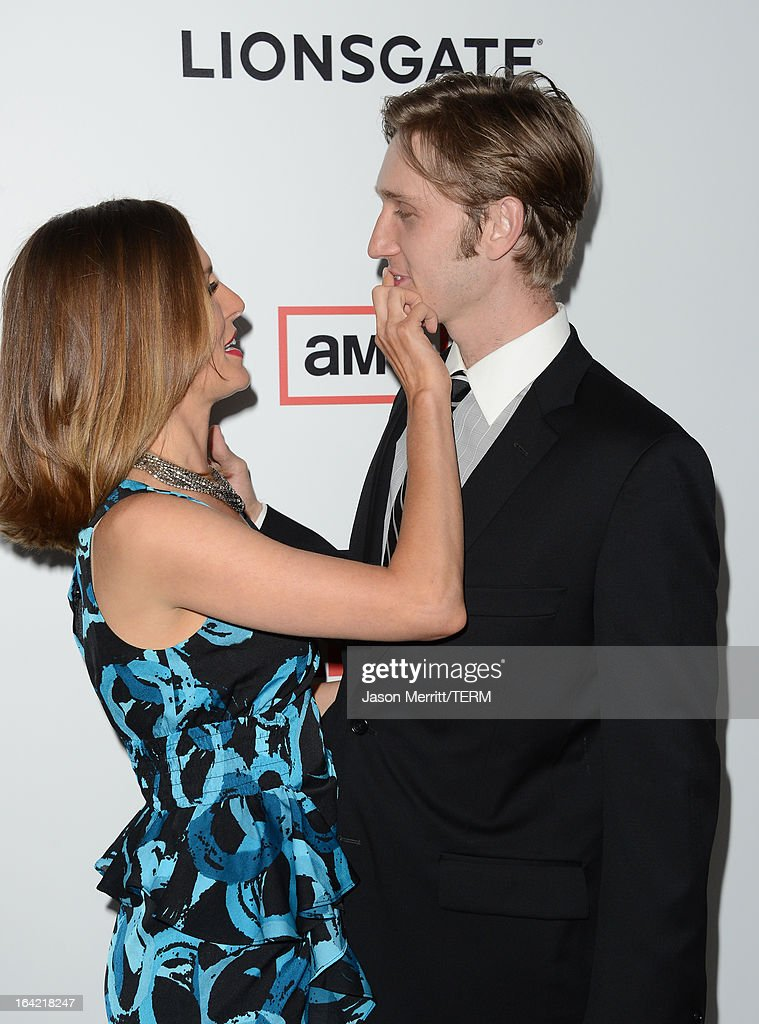 Actors Aaron Staton and Connie Fletcher arrive at the Premiere of AMC's 'Mad Men' Season 6 at DGA Theater on March 20, 2013 in Los Angeles, California.