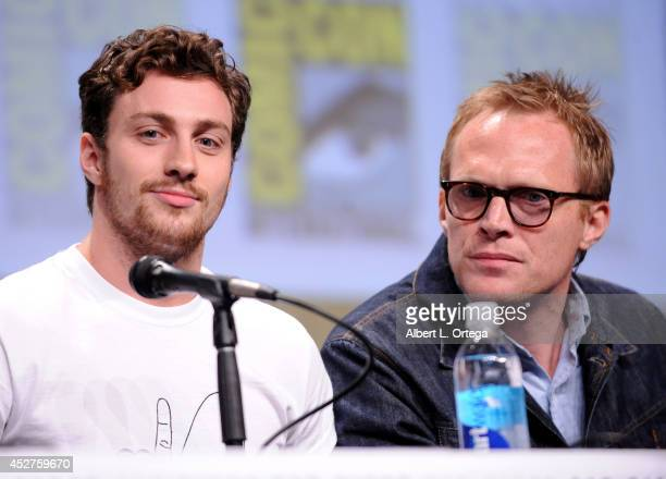 Actors Aaron TaylorJohnson and Paul Bettany attend the Marvel Studios panel during ComicCon International 2014 at San Diego Convention Center on July...
