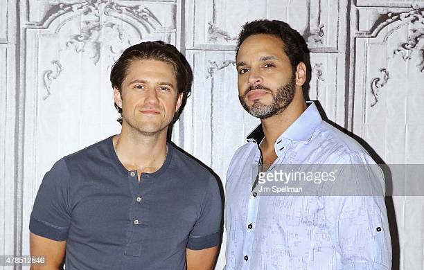 Actors Aaron Tveit and Daniel Sunjata attend the AOL BUILD Speaker Series Presents 'Graceland' at AOL Studios In New York on June 25 2015 in New York...