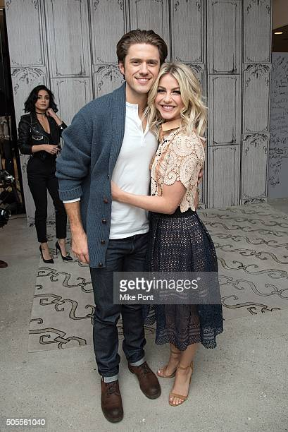 Actors Aaron Tveit and Julianne Hough attend the AOL Build Speaker Series to discuss the television production of 'Grease Live' at AOL Studios In New...