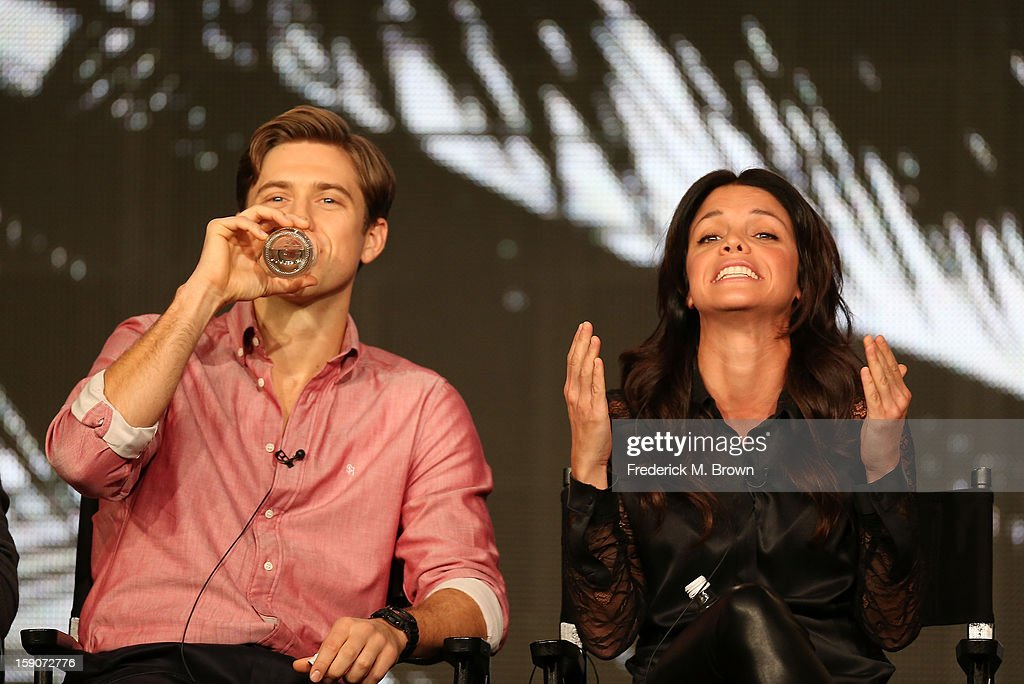 Actors <a gi-track='captionPersonalityLinkClicked' href=/galleries/search?phrase=Aaron+Tveit&family=editorial&specificpeople=884274 ng-click='$event.stopPropagation()'>Aaron Tveit</a> (L) and <a gi-track='captionPersonalityLinkClicked' href=/galleries/search?phrase=Vanessa+Ferlito&family=editorial&specificpeople=226854 ng-click='$event.stopPropagation()'>Vanessa Ferlito</a> speak onstage at the 'Graceland' panel discussion during the USA portion of the 2013 Winter TCA Tour- Day 4 at the Langham Hotel on January 7, 2013 in Pasadena, California.