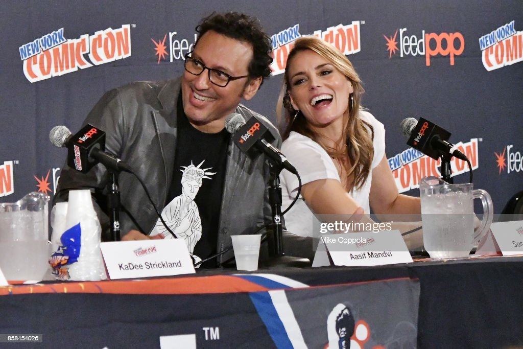 Actors Aasif Mandvi and Susan Misner participate in Hulu's Shut Eye panel at New York Comic Con at Jacob Javits Center on October 6, 2017 in New York City.