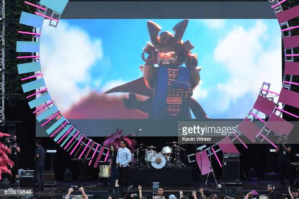 Actors Abbi Jacobson and Michael Pena appears onstage during MTV Fandom Fest at PETCO Park on July 21 2017 in San Diego California