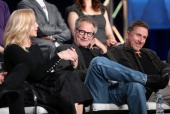 Actors Abbie Cornish Sam Shepards Tim Roth speak onstage during the 'Discovery Channel Klondikel' panel discussion at the Discovery Communications...