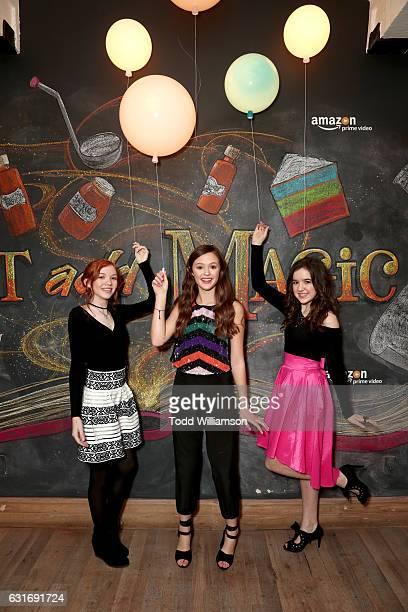 Actors Abby Donnelly Olivia Sanabia and Aubrey Miller attend the second season premiere of Amazon Original Series 'Just Add Magic' at Au Fudge on...