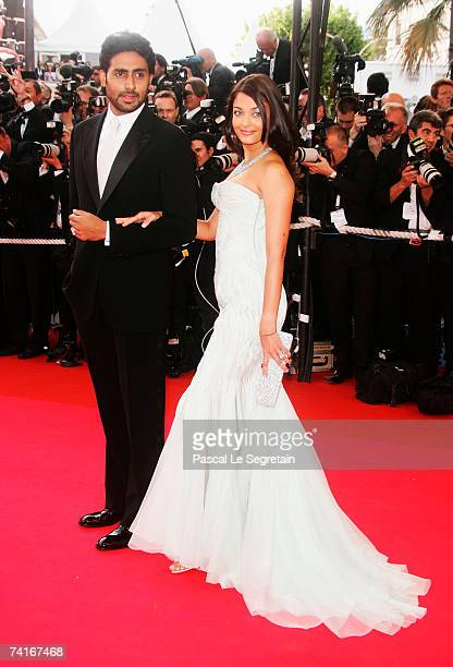 Actors Abhishek Bachchan and Aishwarya Rai arrive at 'My Blueberry Nights' premiere and 60th International Cannes Film Festival Opening Night on May...