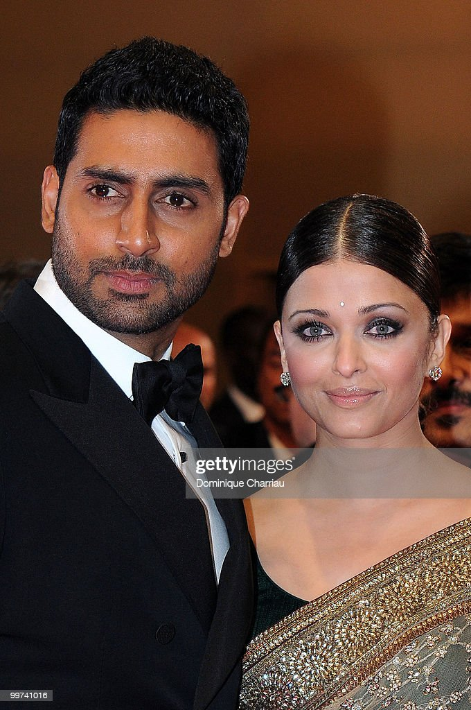 Actors <a gi-track='captionPersonalityLinkClicked' href=/galleries/search?phrase=Abhishek+Bachchan&family=editorial&specificpeople=549431 ng-click='$event.stopPropagation()'>Abhishek Bachchan</a> and <a gi-track='captionPersonalityLinkClicked' href=/galleries/search?phrase=Aishwarya+Rai&family=editorial&specificpeople=202237 ng-click='$event.stopPropagation()'>Aishwarya Rai</a> Bachchan attend the premiere of 'Outrage' held at the Palais des Festivals during the 63rd Annual International Cannes Film Festival on May 17, 2010 in Cannes, France.