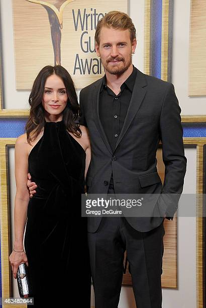 Actors Abigail Spencer and Josh Pence arrive at the 2015 Writers Guild Awards LA Ceremony at the Hyatt Regency Century Plaza on February 14 2015 in...