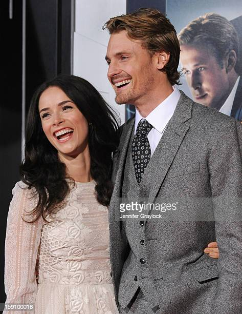 Actors Abigail Spencer and Josh Pence attend the 'Gangster Squad' Los Angeles premiere held at Grauman's Chinese Theatre on January 7 2013 in...
