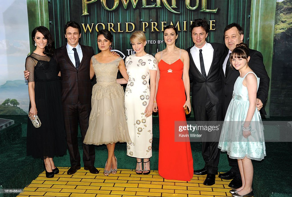 Actors Abigail Spencer, James Franco, Mila Kunis, Michelle Williams, Rachel Weisz, Zach Braff, Director Sam Raimi and actress Joey King attend the world premiere of Walt Disney Pictures' 'Oz The Great And Powerful' at the El Capitan Theatre on February 13, 2013 in Hollywood, California.