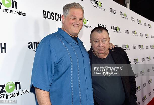 Actors Abraham Benrubi and Troy Evans arrive for the red carpet premiere screening for Amazon's first original drama series 'Bosch' at The Dome at...