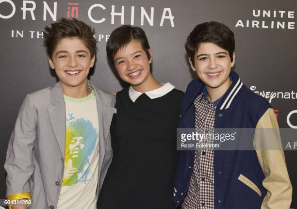 Actors Actor Asher Angel Peyton Elizabeth Lee and Joshua Rush attend premiere of Disneynature's 'Born In China' at Billy Wilder Theater on April 3...