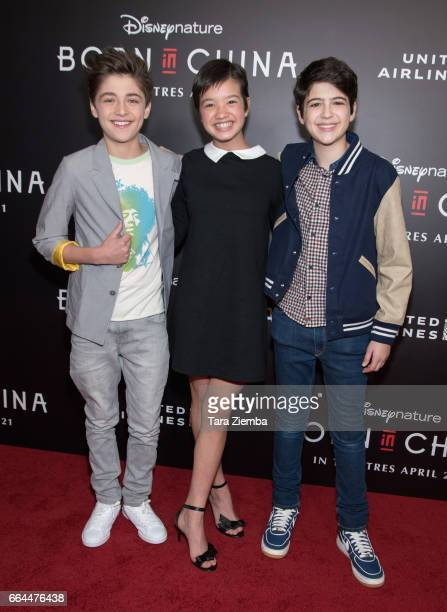 Actors Actor Asher Angel Peyton Elizabeth Lee and Joshua Rush attend the Los Angeles premiere of Disneynatures BORN IN CHINA at Billy Wilder Theater...