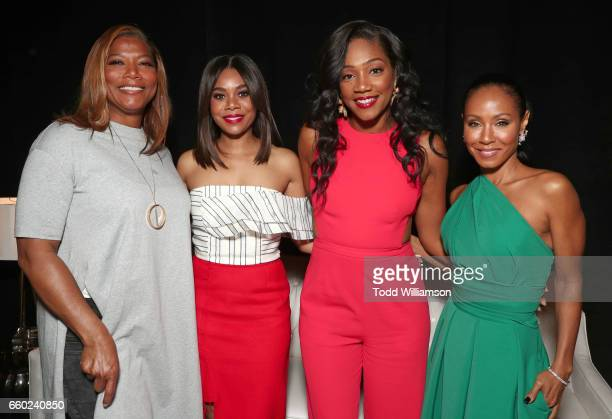 Actors Actor Queen Latifah Regina Hall Tiffany Haddish and Jada Pinkett Smith at CinemaCon 2017 Universal Pictures Invites You to a Special...
