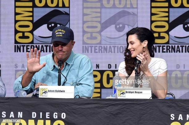 Actors Adam Baldwin and Bridget Regan at TNT's 'The Last Ship' with Eric Dane panel and exclusive sneak peek for season 4 during ComicCon...