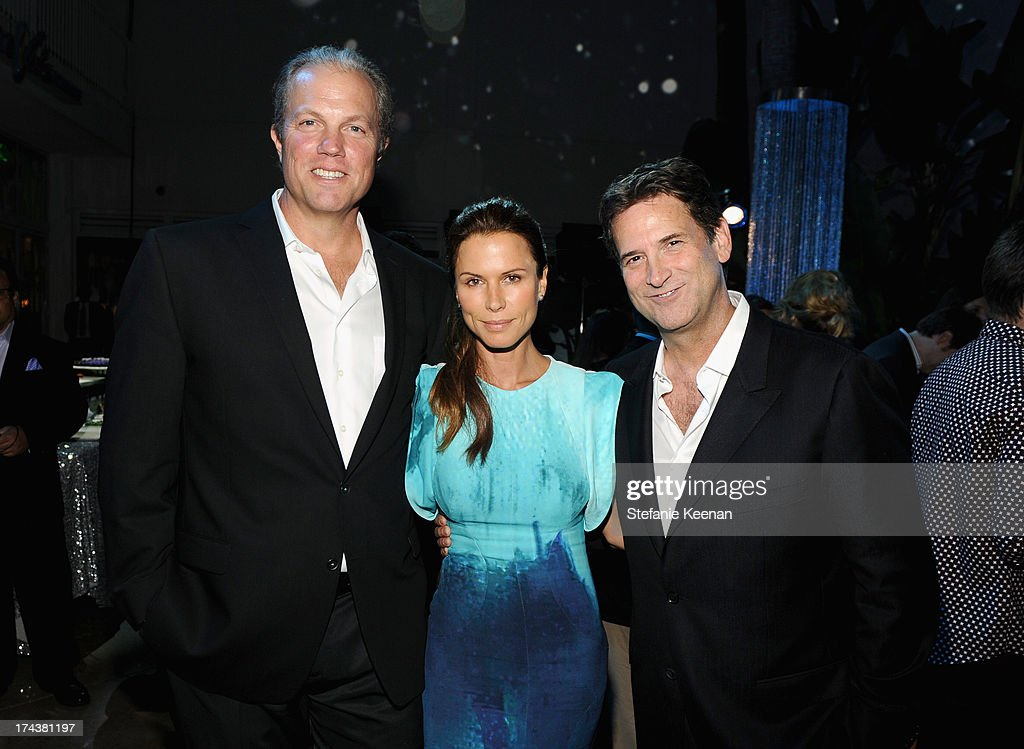 Actors Adam Baldwin, Rhona Mitra and Michael Wright, President, Head of Programming TNT, TBS & TCM attend TNT 25TH Anniversary Party during Turner Broadcasting's 2013 TCA Summer Tour at The Beverly Hilton Hotel on July 24, 2013 in Beverly Hills, California.