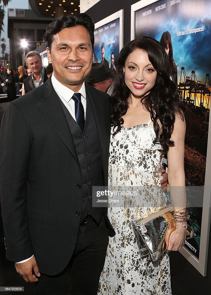 Actors <a gi-track='captionPersonalityLinkClicked' href=/galleries/search?phrase=Adam+Beach+-+Actor&family=editorial&specificpeople=2243672 ng-click='$event.stopPropagation()'>Adam Beach</a> and <a gi-track='captionPersonalityLinkClicked' href=/galleries/search?phrase=Leah+Gibson&family=editorial&specificpeople=7058948 ng-click='$event.stopPropagation()'>Leah Gibson</a> attend the Los Angeles Premiere of 'Rogue' at ArcLight Cinemas on March 26, 2013 in Hollywood, California.