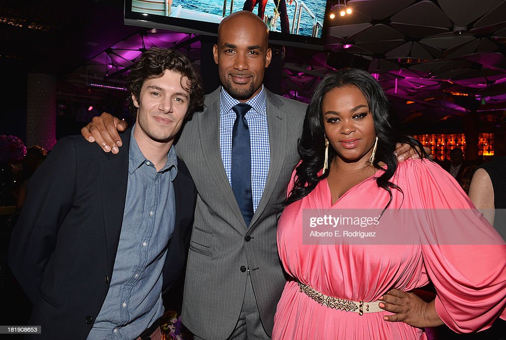 Actors <a gi-track='captionPersonalityLinkClicked' href=/galleries/search?phrase=Adam+Brody&family=editorial&specificpeople=213610 ng-click='$event.stopPropagation()'>Adam Brody</a>, <a gi-track='captionPersonalityLinkClicked' href=/galleries/search?phrase=Boris+Kodjoe&family=editorial&specificpeople=240156 ng-click='$event.stopPropagation()'>Boris Kodjoe</a> and <a gi-track='captionPersonalityLinkClicked' href=/galleries/search?phrase=Jill+Scott+-+Singer&family=editorial&specificpeople=213336 ng-click='$event.stopPropagation()'>Jill Scott</a> attend the after party for the premiere of Fox Searchlight Pictures' 'Baggage Claim' at the Conga Room on September 25, 2013 in Los Angeles, California.