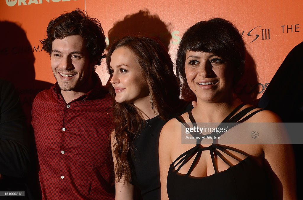 Actors <a gi-track='captionPersonalityLinkClicked' href=/galleries/search?phrase=Adam+Brody&family=editorial&specificpeople=213610 ng-click='$event.stopPropagation()'>Adam Brody</a>, <a gi-track='captionPersonalityLinkClicked' href=/galleries/search?phrase=Leighton+Meester&family=editorial&specificpeople=3947554 ng-click='$event.stopPropagation()'>Leighton Meester</a> and <a gi-track='captionPersonalityLinkClicked' href=/galleries/search?phrase=Alia+Shawkat&family=editorial&specificpeople=206872 ng-click='$event.stopPropagation()'>Alia Shawkat</a> attend The Cinema Society with The Hollywood Reporter & Samsung Galaxy S III host a screening of 'The Oranges' at Tribeca Screening Room on September 14, 2012 in New York City.