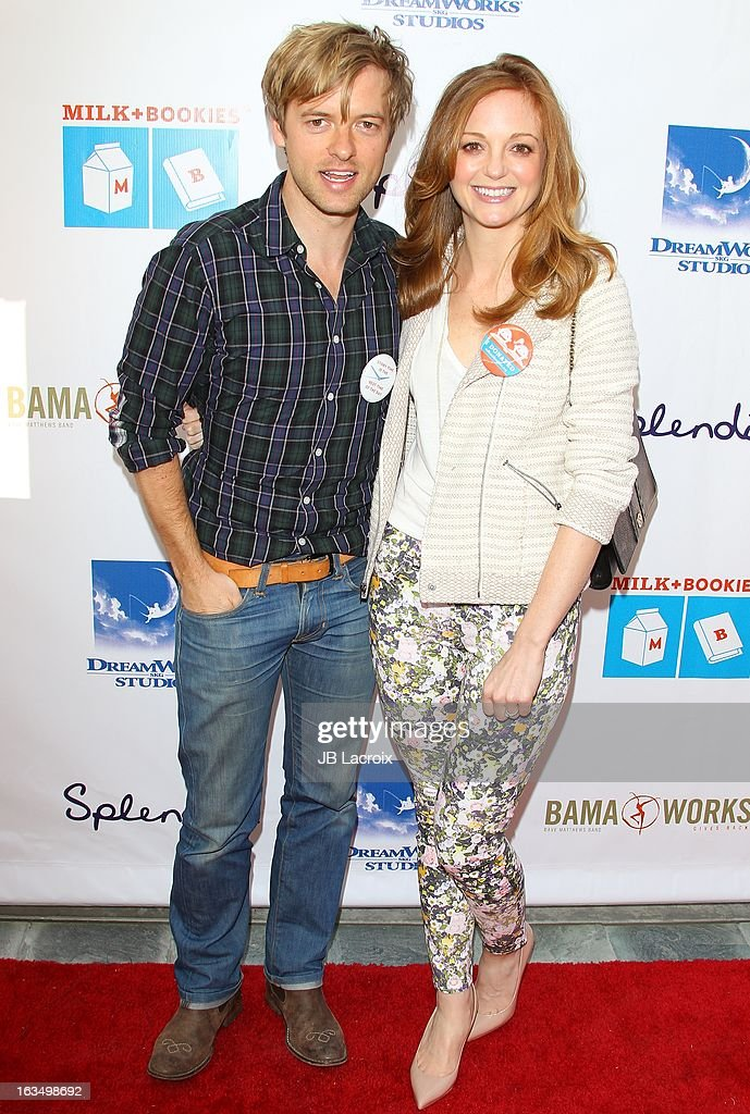 Actors Adam Campbell and Jayma Mays attend the 4th Annual Milk + Bookies Story Time Celebration at Skirball Cultural Center on March 10, 2013 in Los Angeles, California.