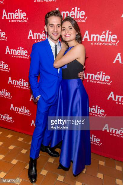 Actors Adam ChanlerBerat and Phillipa Soo attend the 'Amelie' Broadway Opening Night After Party the at 30 Rockefeller Plaza on April 3 2017 in New...