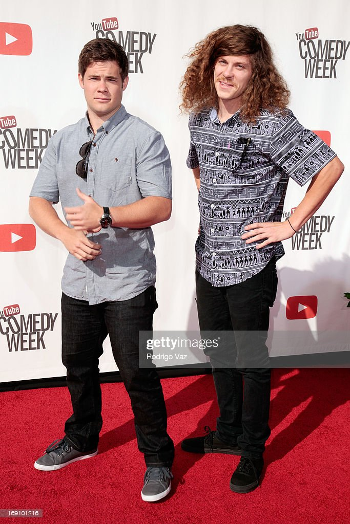 Actors Adam DeVine (L) and Blake Anderson arrive at the YouTube Comedy Week Presents 'The Big Live Comedy Show' at Culver Studios on May 19, 2013 in Culver City, California.