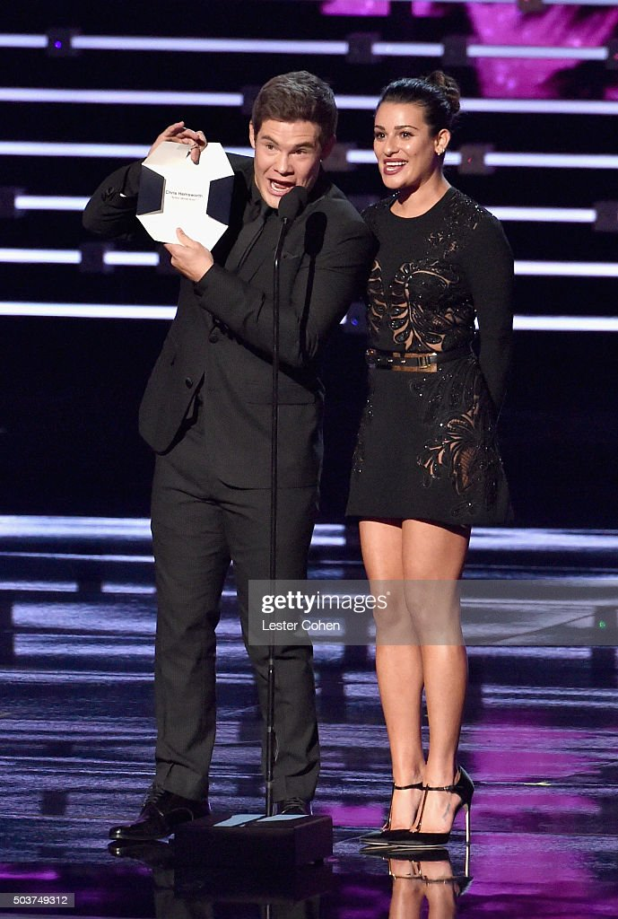 Actors Adam Devine (L) and Lea Michele speak onstage during the People's Choice Awards 2016 at Microsoft Theater on January 6, 2016 in Los Angeles, California.