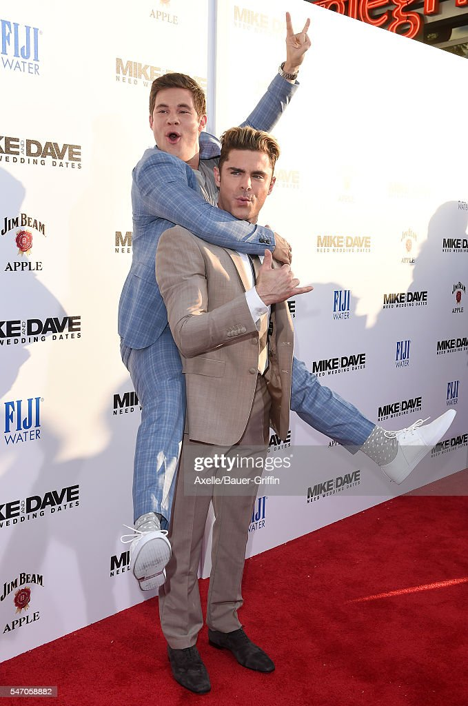 Actors Adam DeVine and Zac Efron arrive at the premiere of 20th Century Fox's 'Mike and Dave Need Wedding Dates' at the Cinerama Dome at ArcLight...