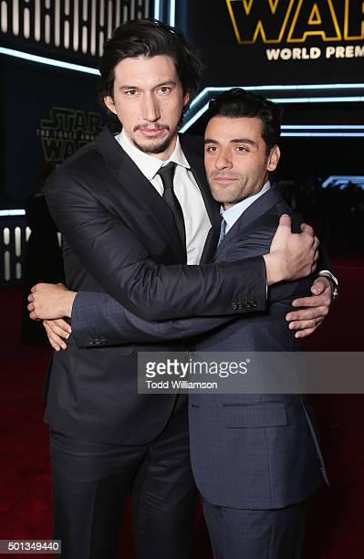 Actors Adam Driver and Oscar Isaac attend the Premiere of Walt Disney Pictures and Lucasfilm's 'Star Wars The Force Awakens' on December 14 2015 in...