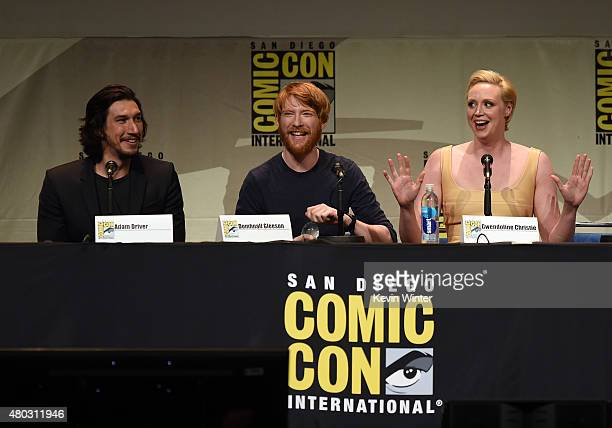 Actors Adam Driver Domhnall Gleeson and Gwendoline Christie speak onstage at the Lucasfilm panel during ComicCon International 2015 at the San Diego...