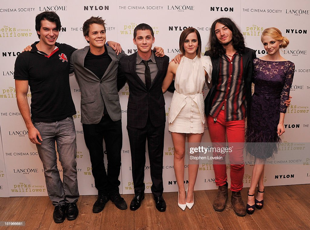 Actors Adam Higenbuch, <a gi-track='captionPersonalityLinkClicked' href=/galleries/search?phrase=Johnny+Simmons&family=editorial&specificpeople=4237469 ng-click='$event.stopPropagation()'>Johnny Simmons</a>, <a gi-track='captionPersonalityLinkClicked' href=/galleries/search?phrase=Logan+Lerman&family=editorial&specificpeople=635439 ng-click='$event.stopPropagation()'>Logan Lerman</a>, <a gi-track='captionPersonalityLinkClicked' href=/galleries/search?phrase=Emma+Watson&family=editorial&specificpeople=171373 ng-click='$event.stopPropagation()'>Emma Watson</a>, <a gi-track='captionPersonalityLinkClicked' href=/galleries/search?phrase=Ezra+Miller&family=editorial&specificpeople=5348897 ng-click='$event.stopPropagation()'>Ezra Miller</a>, and Erin Wilhelmi attend The Cinema Society special screening of 'The Perks Of Being A Wall Flower' on September 13, 2012 in New York City.