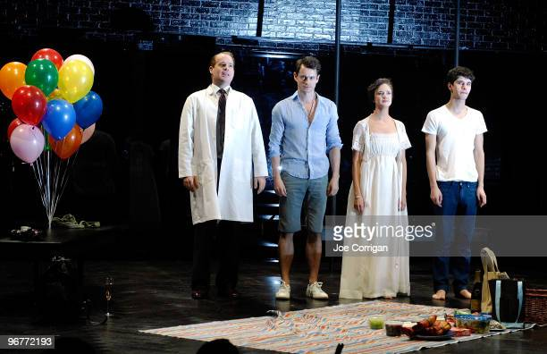 Actors Adam James Hugh Dancy Andrea Riseborough and Ben Whishaw at curtain call on opening night of 'The Pride' offBroadway at the Lucille Lortel...