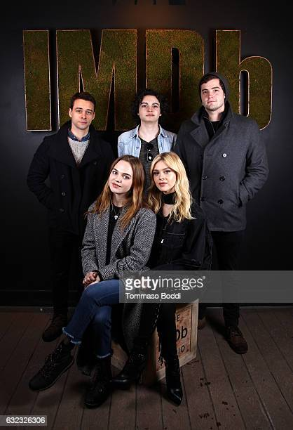 Actors Adam Long Max Burkholder Ben Winchell actresses Odessa Young and Nicola Peltz of 'When the Street Lights Go On' attend The IMDb Studio...