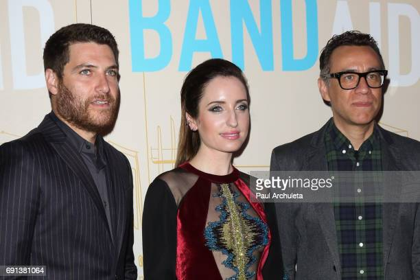 Actors Adam Pally Zoe ListerJones and Fred Armisen attend the premiere of IFC Films' 'Band Aid' at The Theatre at The Ace Hotel on May 30 2017 in Los...