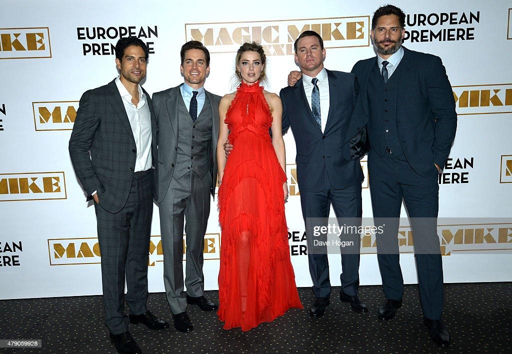 Actors Adam Rodriguez Matt Bomer Amber Heard Channing Tatum and Joe Manganiello attend the European Premiere of 'Magic Mike XXL' at Vue West End on...