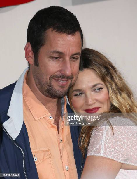 Actors Adam Sandler and Drew Barrymore attend the Los Angeles premiere of 'Blended' at the TCL Chinese Theatre on May 21 2014 in Hollywood California