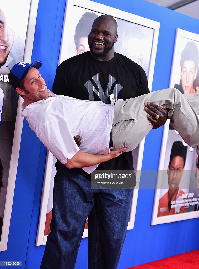 Actors Adam Sandler and Shaquille O'Neal attend the 'Grown Ups 2' New York Premiere at AMC Lincoln Square Theater on July 10 2013 in New York City