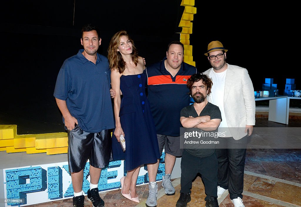 Actors Adam Sandler, Michelle Monaghan, Kevin James, Peter Dinklage, and Josh Gad attend the 'Pixels' photo call during Summer Of Sony Pictures Entertainment 2015 at The Ritz-Carlton Cancun on June 15, 2015 in Cancun, Mexico. #SummerOfSonyPictures #PixelsMovie