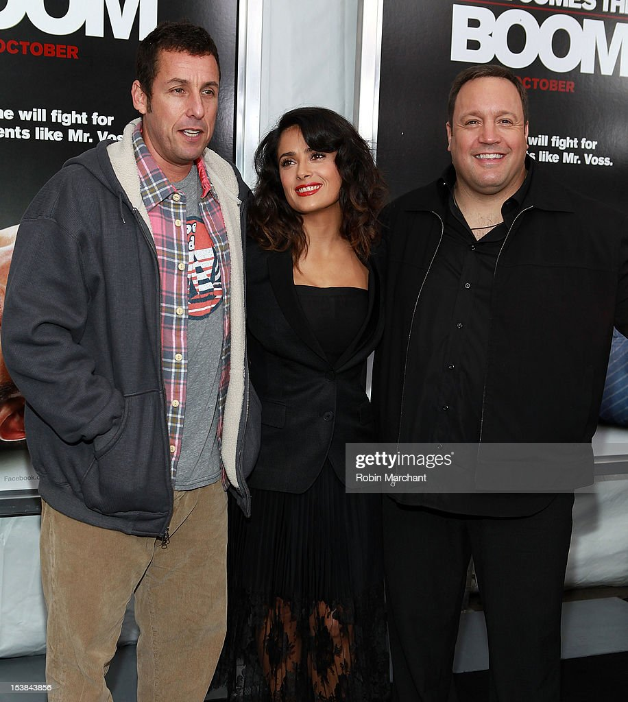 Actors Adam Sandler, Salma Hayek and Kevin James attend the 'Here Comes The Boom' premiere at AMC Loews Lincoln Square on October 9, 2012 in New York City.