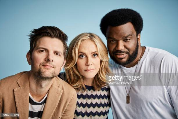 Actors Adam Scott Ally Walker and Craig Robinson from Ghosted are photographed for Entertainment Weekly Magazine on July 20 2017 at Comic Con in San...