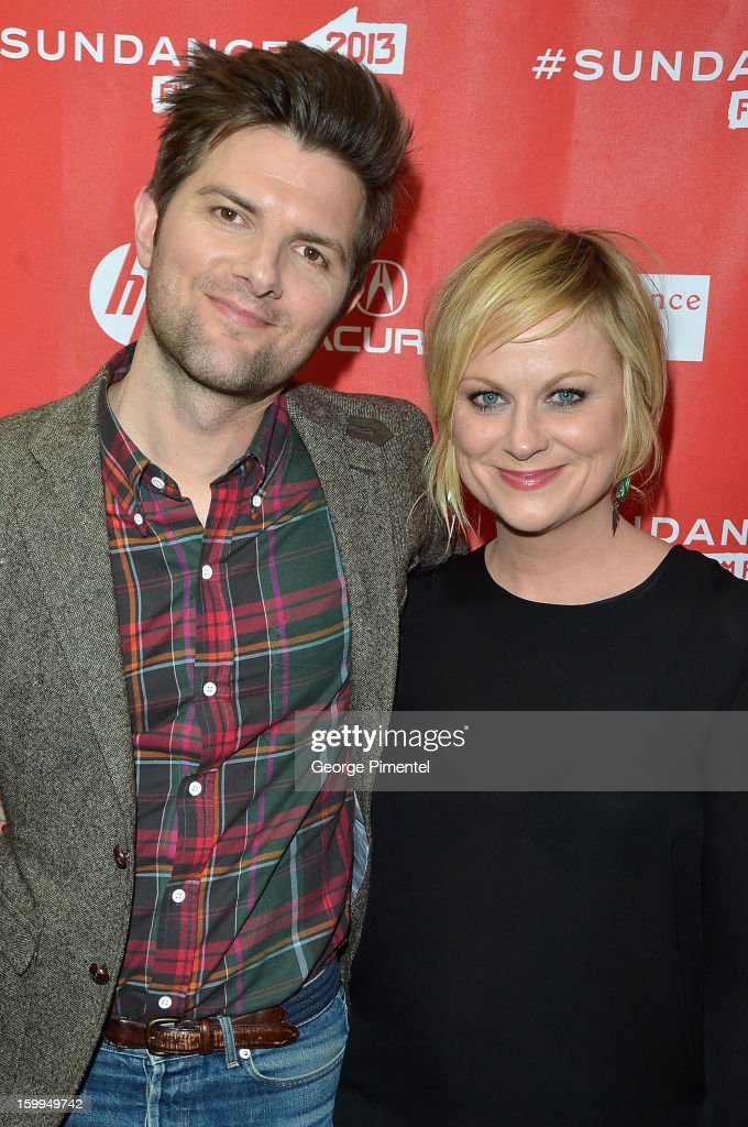 Actors Adam Scott and Amy Poehler attend the 'A.C.O.D' Premiere during the 2013 Sundance Film Festival at Eccles Center Theatre on January 23, 2013 in Park City, Utah.