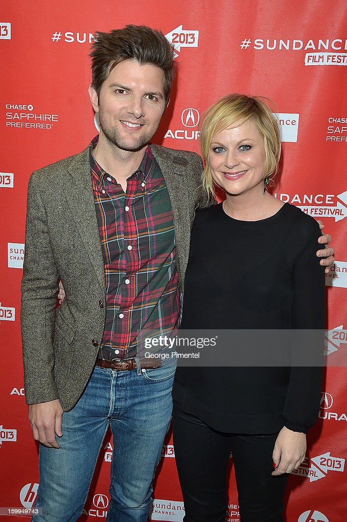 Actors Adam Scott and <a gi-track='captionPersonalityLinkClicked' href=/galleries/search?phrase=Amy+Poehler&family=editorial&specificpeople=228430 ng-click='$event.stopPropagation()'>Amy Poehler</a> attend the 'A.C.O.D' Premiere during the 2013 Sundance Film Festival at Eccles Center Theatre on January 23, 2013 in Park City, Utah.