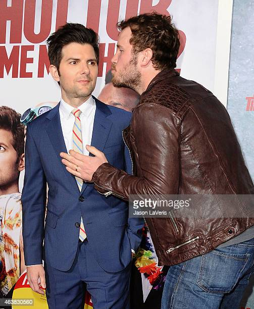 Actors Adam Scott and Chris Pratt attend the premiere of 'Hot Tub Time Machine 2' at Regency Village Theatre on February 18 2015 in Westwood...
