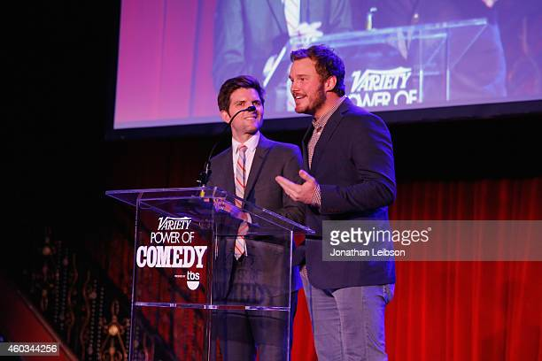 Actors Adam Scott and Chris Pratt speak onstage at Variety's 5th annual Power of Comedy presented by TBS benefiting the Noreen Fraser Foundation at...