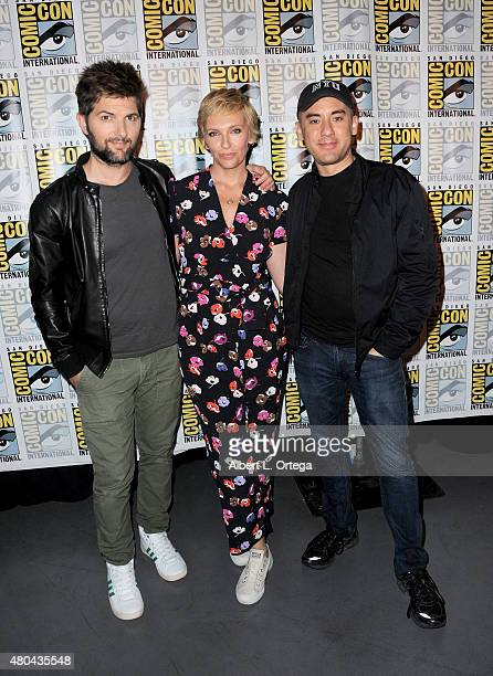 Actors Adam Scott and Toni Collette and director Michael Dougherty attend the Legendary Pictures panel during ComicCon International 2015 the at the...