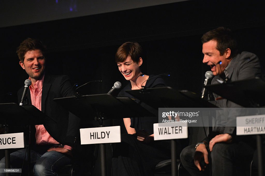 Actors Adam Scott, Anne Hathaway and Jason Bateman attend a Film Independent live read at Bing Theatre At LACMA on January 17, 2013 in Los Angeles, California.
