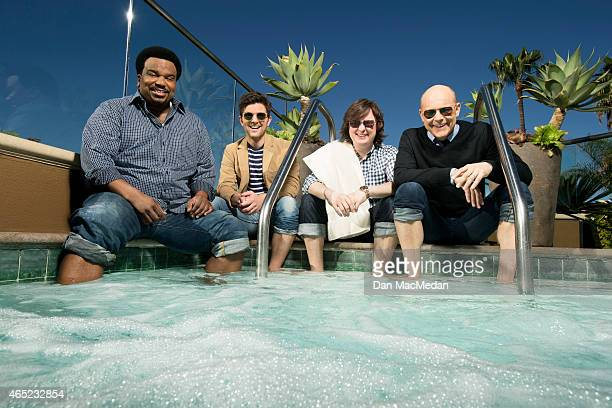 Actors Adam Scott Craig Robinson Clark Duke and Rob Corddry are photographed for USA Today on February 14 2015 in Los Angeles California PUBLISHED...